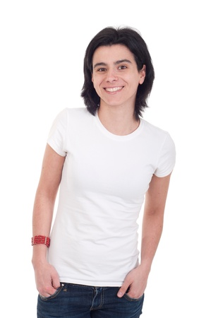 smiling casual woman portrait isolated on white background Stock Photo - 9255544