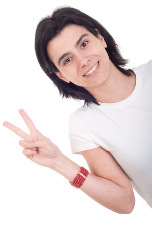 smiling casual woman showing victory hand sign isolated on white background Stock Photo - 9255586