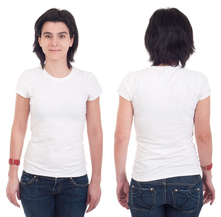 front and back of a happy casual woman wearing t-shirt isolated on white background