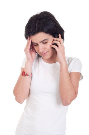 stressed casual woman talking on the phone (isolated on white background) Stock Photo - 9255571