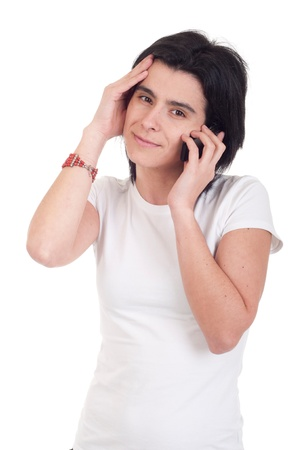 stressed casual woman talking on the phone (isolated on white background) photo