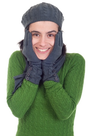 lovely winter woman portrait with scarf, gloves and hat (isolated on white background) photo