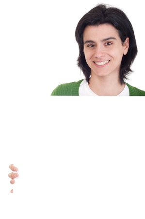 smiling casual woman displaying a banner ad isolated on white background  photo