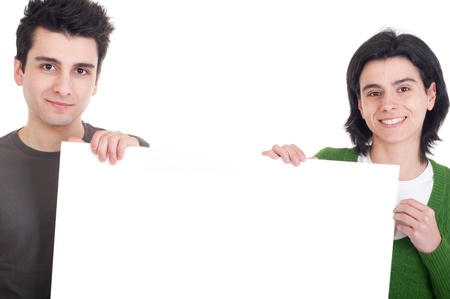 friendly casual man and woman displaying a banner ad isolated on white background  photo