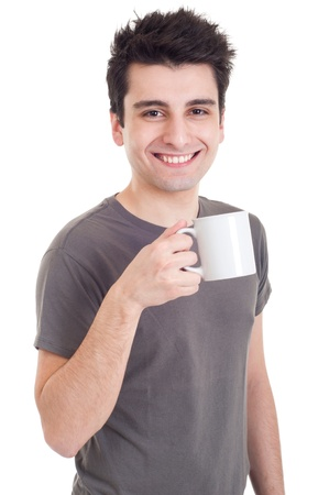 smiling casual man holding coffeetea mug (isolated on white background) photo
