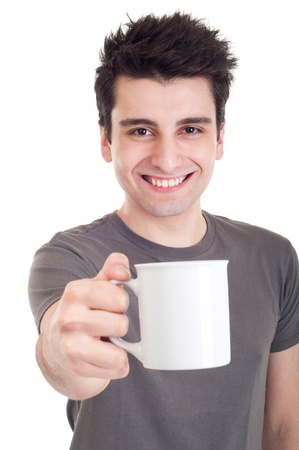 smiling casual man holding coffeetea mug (isolated on white background)