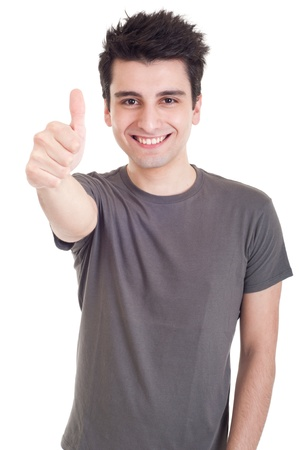 facial gestures: smiling young man with thumbs up on an isolated white background