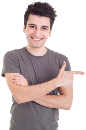smiling casual man pointing right isolated on white background Stock Photo
