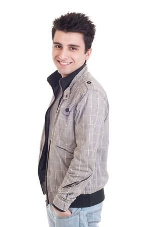 fashion portrait of a young handsome man with jacket (isolated on white background) Stock Photo - 9380355