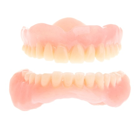 full set of a acrylic denture isolated on white background Stock Photo - 9404044