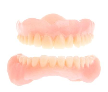 full set of a acrylic denture isolated on white background Stock Photo - 9404044