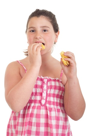 cute little girl eating chips (isolated on white background)