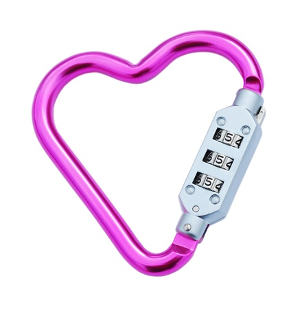 pink heart shaped carabiner with lockpad (isolated on white background) photo
