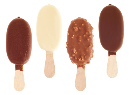 4 delicious chocolate ice creams (milk, white, almond, black) isolated on white background