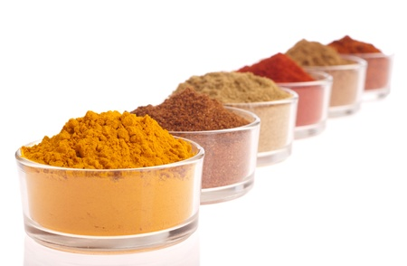 collection of indian spices (cumin, coriander, paprika, garam masala, curcuma, chili powder) on glass cups isolated on white background (shallow DOF, focus on first) photo