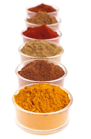 powdered: collection of indian spices (cumin, coriander, paprika, garam masala, curcuma, chili powder) on glass cups isolated on white background (shallow DOP, focus on first)