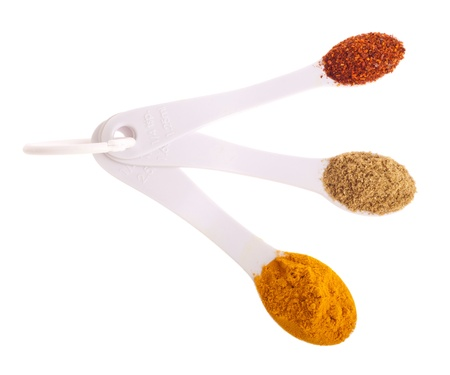 indian spices in measuring spoons (curcuma, coriander, red pepper flakes) isolated on white background photo