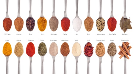 gorgeous collection of 22 spices on spoons (cumin, coriander, curry, paprika, chili, piri piri, cinnamon, fenugreek, cardamom, oregano, parsley, garlic, salt, cloves, garam masala, turmeric, bay) isolated on white background