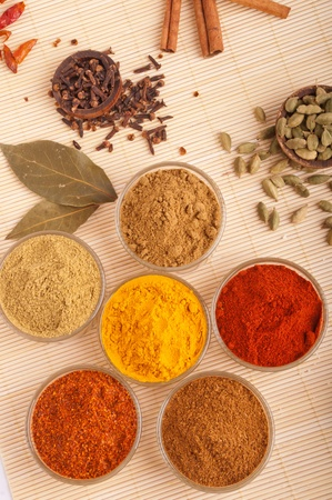 gorgeous setting with cooking spices and herbs (bay leaves, cumin, coriander, chili powder, cloves, cardamom pods, cinnamon sticks, paprika, piri piri, turmeric) on a wooden mat photo
