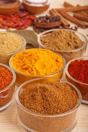 piri: gorgeous setting with cooking spices and herbs (bay leaves, cumin, coriander, chili powder, cloves, cardamom pods, cinnamon sticks, paprika, piri piri, salt, turmeric) on a wooden mat (shallow DOF)