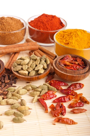 piri: gorgeous setting with cooking spices and herbs (cloves, cardamom pods, cinnamon sticks, garam masala, paprika, piri piri, turmeric) on a wooden mat (isolated on white background) Stock Photo