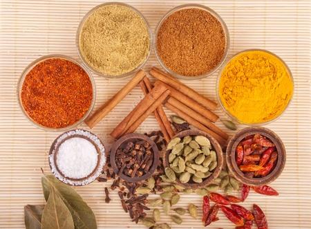 piri: gorgeous setting with cooking spices and herbs (bay leaves, chili powder, coriander, cloves, cardamom pods, cinnamon sticks, garam masala, piri piri, salt, turmeric) on a wooden mat