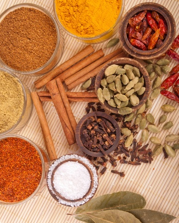 gorgeous setting with cooking spices and herbs (bay leaves, chili powder, coriander, cloves, cardamom pods, cinnamon sticks, garam masala, piri piri, salt, turmeric) on a wooden mat Stock Photo - 9728964