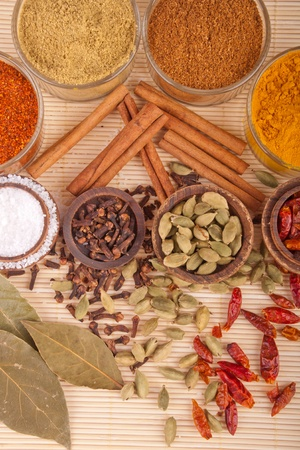 masala: gorgeous setting with cooking spices and herbs (bay leaves, chili powder, coriander, cloves, cardamom pods, cinnamon sticks, garam masala, piri piri, salt, turmeric) on a wooden mat