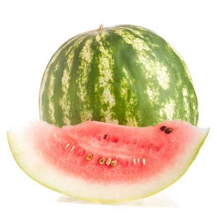 whole and slice watermelon fruit (isolated on white background) photo
