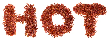hot written with piri piri chilli peppers (isolated on white background) Stock Photo - 9966694