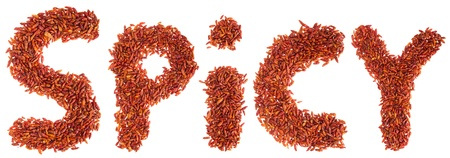 spicy written with piri piri chilli peppers (isolated on white background) Stock Photo - 9966697