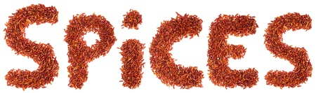 spices written with piri piri chilli peppers (isolated on white background) photo