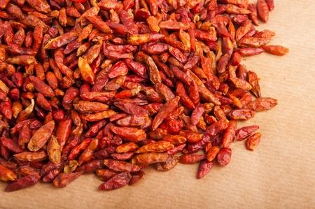 piri piri: bunch of Piri Piri peppers on a brown background (close-up picture)