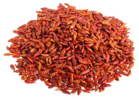 piri: pile of Piri Piri peppers isolated on white background