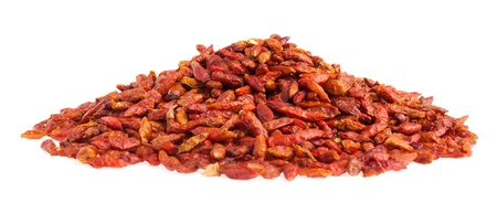 piri: pile of Piri Piri peppers isolated on white background (shallow depth of field on top of pile) Stock Photo