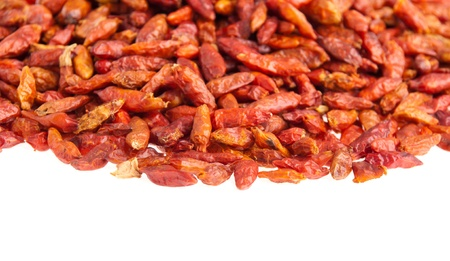 pile of Piri Piri peppers isolated on white background (close-up picture, shallow depth of field) Stock Photo - 9966683
