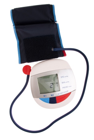 digital and modern blood pressure meter isolated on white background photo