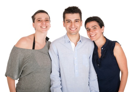 happy smiling brother and his two sisters portrait (isolated on white background) Stock Photo - 10055471