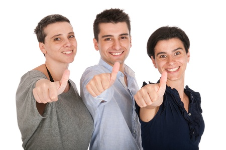 happy smiling brother and sisters showing thumbs up sign (isolated on white background) Stock Photo - 10055426