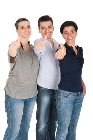 happy smiling brother and sisters showing thumbs up sign (isolated on white background) Stock Photo - 10055436