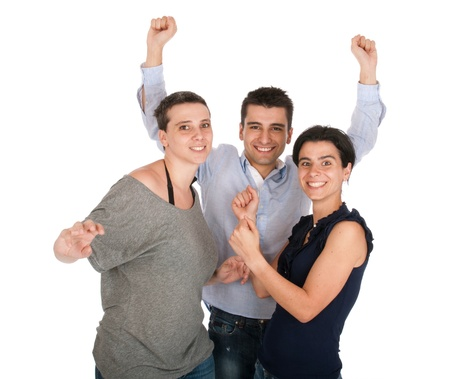 happy smiling brother and sisters having fun celebrating something, cheering and gesturing (isolated on white background) Stock Photo - 10055413