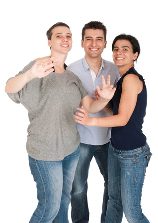 enthusiastic: happy smiling brother and sisters having fun celebrating something, cheering and gesturing (isolated on white background)