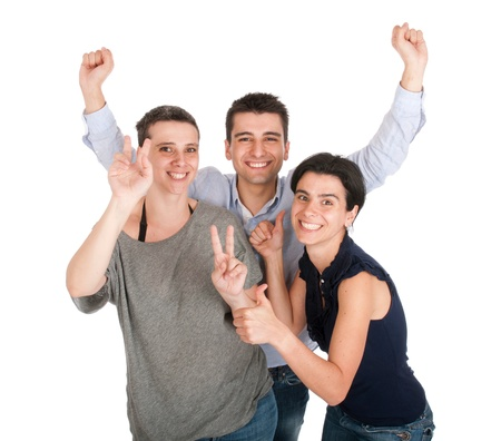 happy smiling brother and sisters having fun celebrating something, cheering and gesturing (isolated on white background) Stock Photo - 10055458