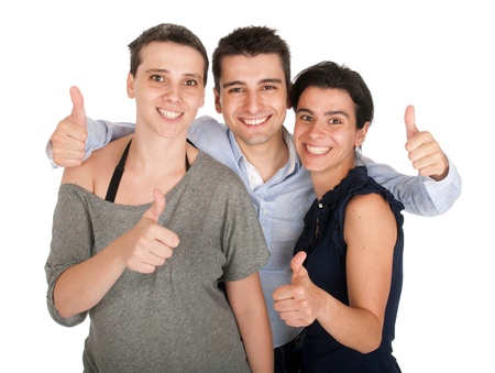 happy smiling brother and sisters showing thumbs up sign (isolated on white background) photo