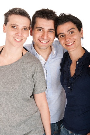 happy smiling brother and his two sisters portrait (isolated on white background)