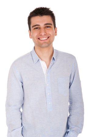 sexy young man: smiling young casual man portrait, isolated on white background  Stock Photo