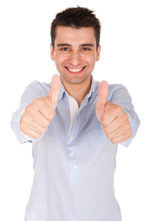 smiling young casual man showing thumbs up sign (isolated on white background) Stock Photo