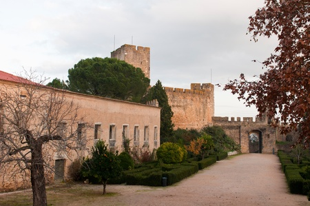 templar: Templar Castle and garden at the Convent of Christ in Tomar, Portugal (build in the 12th century)