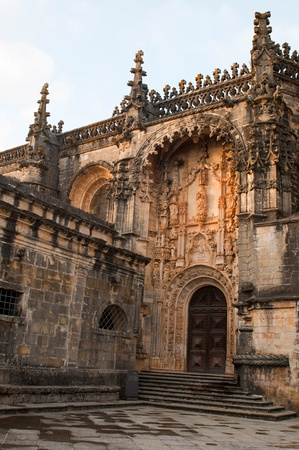 templar: Templar Church entrance at the Convent of Christ in Tomar, Portugal (build in the 12th century) Stock Photo