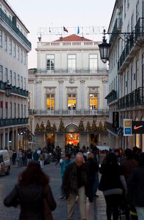 chiado: LISBON, PORTUGAL - DECEMBER 19: people walking in Chiado downtown making last days Christmas shopping on December 19, 2011 in Lisbon, Portugal